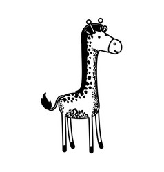 giraffe cartoon in black sections silhouette vector image
