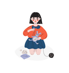 Girl sewing bunny hobhobeducation vector