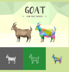 Goat chinese zodiac animals low poly logo icon vector