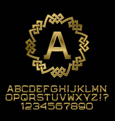 golden angular letters and numbers with a initial vector image