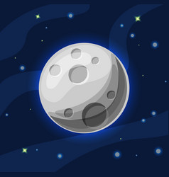 Grey and blue moon in deep dark blue space vector