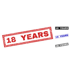 grunge 18 years textured rectangle watermarks vector image