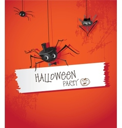 Halloween spider in a hat and tie vector