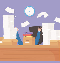Hands desk and stack work papers boxes stress vector