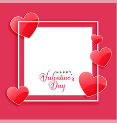 happy valentines day frame with shiny hearts and vector image