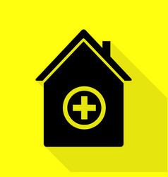 hospital sign black icon with flat vector image