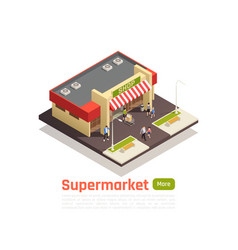 Isometric store mall shopping center concept vector