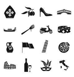 Italia icons set simple style vector