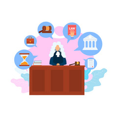 Judge job occupation flat vector