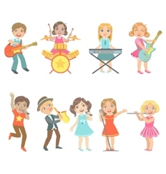 Kid Singing And Playing Music Instruments Set vector image