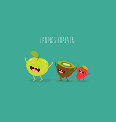 Kiwi apple and strawberry vector