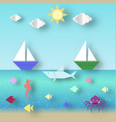 Landscape with animals and ships vector