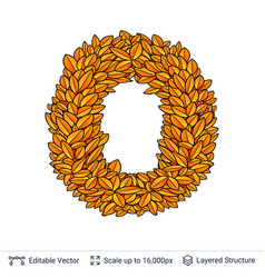 Letter o sign of autumn leaves vector