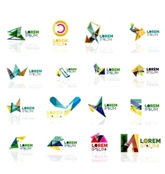 Logo set abstract geometric business icons paper vector