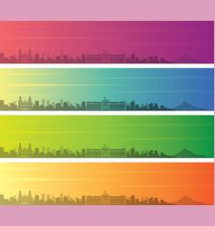 managua multiple color gradient skyline banner vector image