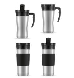 Metallic silver thermo cup thermomug vector
