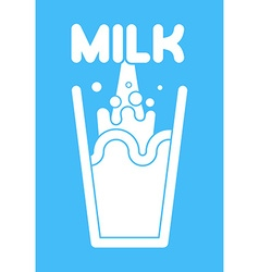 Milk glass Splash of fresh milk vector image