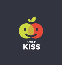 Modern professional sign logo smile kiss vector