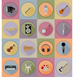 music items and equipment flat icons 19 vector image