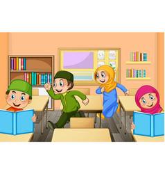 muslim students in classroom scene vector image