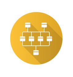 Network diagram flat design long shadow glyph vector