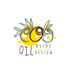 Olive oil label with some olives hand drawn on vector