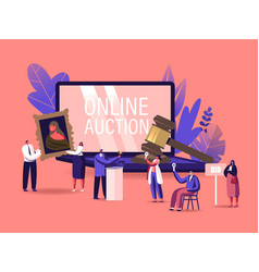 Online auction concept auctioneer people vector