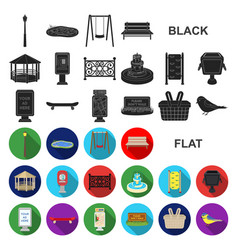 Park equipment flat icons in set collection for vector