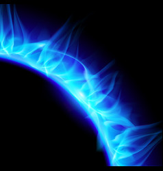 Partial view blazing solar corona in blue on vector