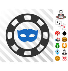 private mask casino chip icon with bonus vector image