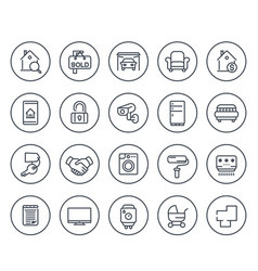 Real estate line icons on white vector