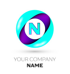 Realistic letter n logo in colorful circle vector