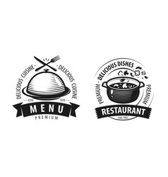 restaurant logo or label emblems for menu design vector image