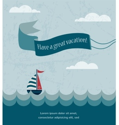 retro summer poster with wavy sea and boat vector image