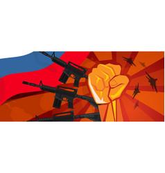 Russia war propaganda hand fist strike with arm vector