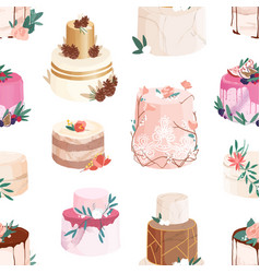 seamless pattern with wedding or birthday cakes vector image