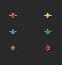set colored stars for interface on a dark vector image