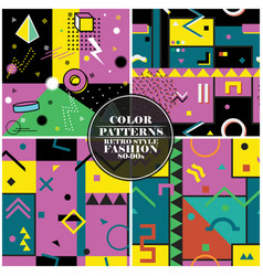 set colorful abstract seamless patterns vector image