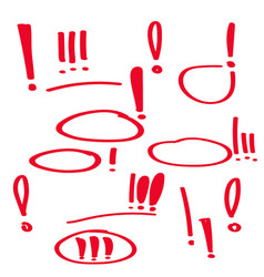 set hand drawn exclamation mark vector image