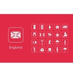 Set of England simple icons vector image
