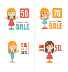 set of sale banners big summer sale discount 50 vector image