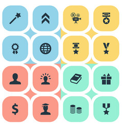 Set of simple champion icons vector