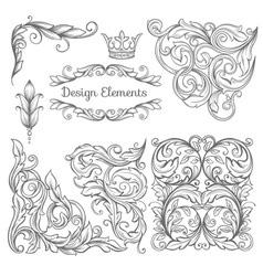 Set of vintage elements vector