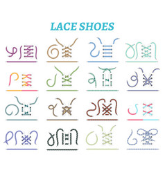 Shoe lacing methods icons set vector