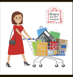 shopping fun for everyone cartoon woman with cart vector image
