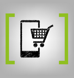 shopping on smart phone sign black vector image