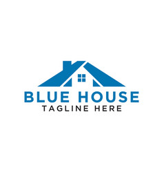 simple blue house logo design template vector image