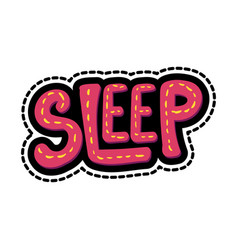 sleep lettering stitched frame vector image