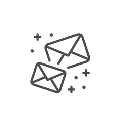 Sparkling envelopes line outline icon vector