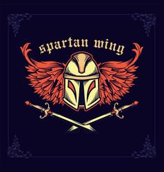 Spartan helmet with crossed swords and wings vector